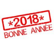 Rubber stämpel med det lyckliga nya året 2018 för text i franskt Vektor Illustrationer