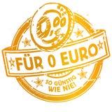 Rubber stämpel med för 0 euro mer som man har råd med Arkivbild