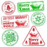 Rubber stämplar för glad jul Fotografering för Bildbyråer