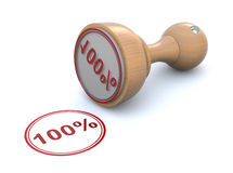 Rubber stamp - 100%. 3D concept with rubber stamp and 100 stock illustration