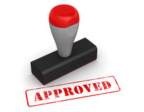 Rubber stamp - approved. Computer generated image. 3d rendered image Stock Photo