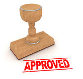 Rubber stamp - approved. 3d rendered image Stock Photography