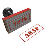 Rubber stamp with ASAP message. Rubber Stamp on a white background with message of ASAP Royalty Free Stock Photography