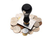 Rubber stamp with Asian coins. Rubber stamp with coins (several country) to show exchange Finance import export , Horizontal Stock Image