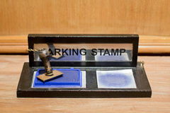 Rubber stamp with blue ink Royalty Free Stock Photography