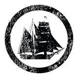 Rubber stamp with brigantine. Silhouette Royalty Free Stock Photos