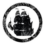 Rubber stamp with brigantine. Silhouette Stock Photography