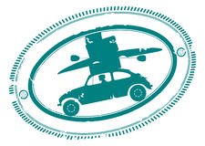 Rubber stamp with car going on holidays Royalty Free Stock Photos
