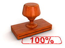 Rubber Stamp 100% (clipping path included) royalty free stock image