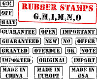 Rubber stamp collection GHIMNO. Collection of rubber stamps with words begining with letter G, H, I, M, N, O Stock Images
