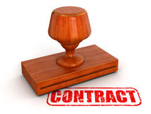 Rubber Stamp Contract (clipping path included) Royalty Free Stock Photos