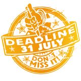 Rubber Stamp deadline July 31th. Rubber Stamp with the deadline July 31th Stock Images