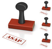 Rubber Stamp with different commercial messages Royalty Free Stock Photo