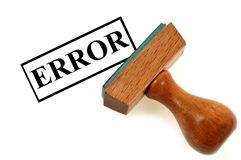 Rubber stamp error on white background royalty free stock images