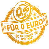 Rubber stamp with for 0 Euro more affordable Stock Photography