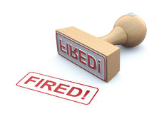Rubber stamp-fired. Rubber stamp with word fired - 3D illustration Stock Photo