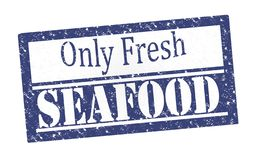 Rubber Stamp Fresh Seafood stock photography