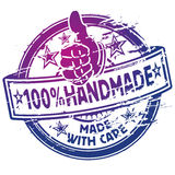 Rubber stamp 100% handmade. Rubber stamp one-hundred percent handmade and workers stock illustration