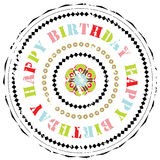 Rubber stamp: Happy Birthday. Illustration of a grunge rubber ink stamp on white background with flowers and text: Happy Birthday Stock Photo