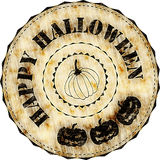 Rubber stamp: Happy Halloween. Grunge Halloween rubber stamp with pumpkins Stock Images