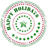 Rubber stamp: Happy Holidays