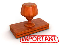 Rubber Stamp important (clipping path included) Royalty Free Stock Photography