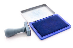 Rubber Stamp and Ink Pad. On white background isolated stock photography