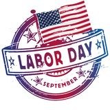 Rubber stamp with the Labor Day in September stock photos