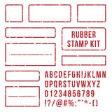 Rubber stamp letters. Red stamps frame and letterpress symbols with font numbers. Marks kit vector set. Rubber stamp letters. Red stamps frame and rubber vector illustration