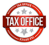 Rubber stamp marked with tax office Stock Images
