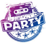Rubber stamp music cassette and party vector illustration