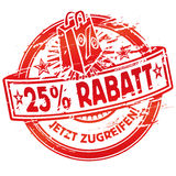 Rubber stamp 25% off and shopping bag. Rubber stamp 25% off and red  shopping bag Royalty Free Stock Photos
