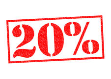 20% Rubber Stamp. Over a white background Stock Photos