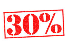 30% Rubber Stamp. Over a white background Stock Image