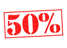 50% Rubber Stamp. Over a white background Stock Image