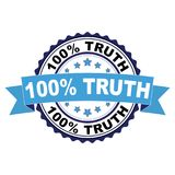 Rubber stamp with 100 percent truth concept. Blue black rubber stamp with 100 percent truth concept Stock Images