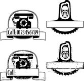 Rubber stamp with phone Stock Images
