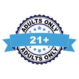Rubber stamp with 21 plus adults only concept. Blue black rubber stamp with 21 plus adults only concept Royalty Free Stock Images