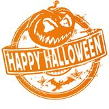 Rubber stamp with pumpkin and happy halloween Stock Photo