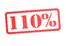 110% Rubber Stamp. 110% red rubber stamp over a white background Stock Illustration