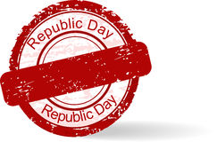 Rubber stamp of Republic Day on white background. Royalty Free Stock Photos