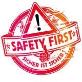 Rubber stamp safety first. Rubber stamp always safety first Royalty Free Stock Photo