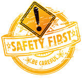 Rubber stamp safety first. For workers Stock Photo