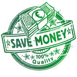Rubber stamp with save money Stock Image