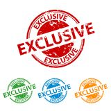 Rubber Stamp Seal - Exclusive - Colorful Vector Set royalty free illustration