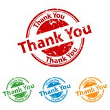 Rubber Stamp Seal - Thank You - Colorful Vector Set stock illustration