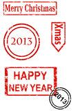 Rubber stamp series - Christmas and New Year. Eps10 illustration stock illustration