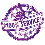Rubber stamp 100% service. And quality vector illustration