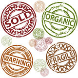 Rubber Stamp Set. An image of a set of sold, organic, warning and fragile rubber stamps Royalty Free Stock Image