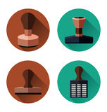 Rubber stamp set Stock Photo